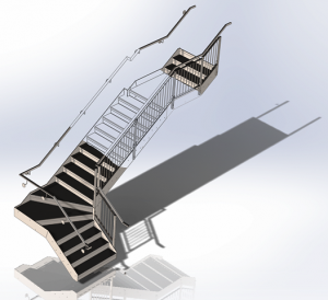 Steel Detailing Drawing Company produce Fabrication Drawings of a Stair Case
