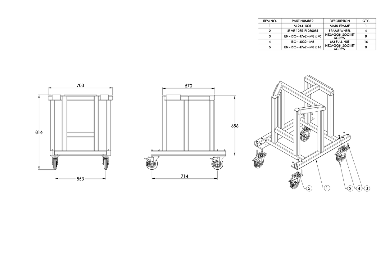 Fabrication Drawings For A Aluminium Rolling Frame