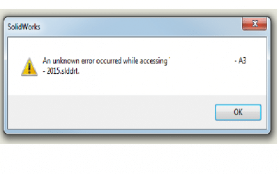 Solidworks message when saving sheet format – An unknown error occurred while accessing
