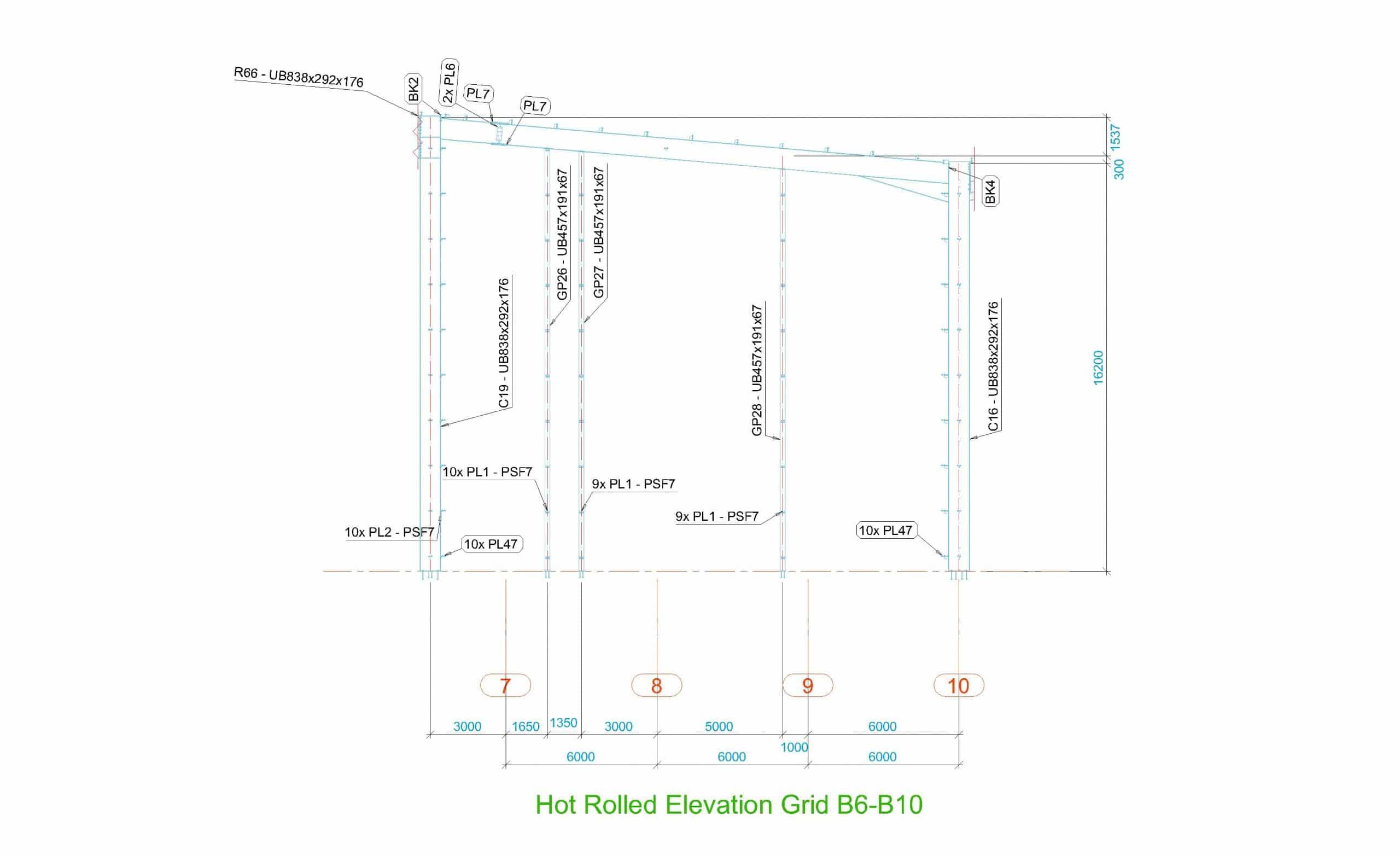 Portal Frame Elevation Drawing