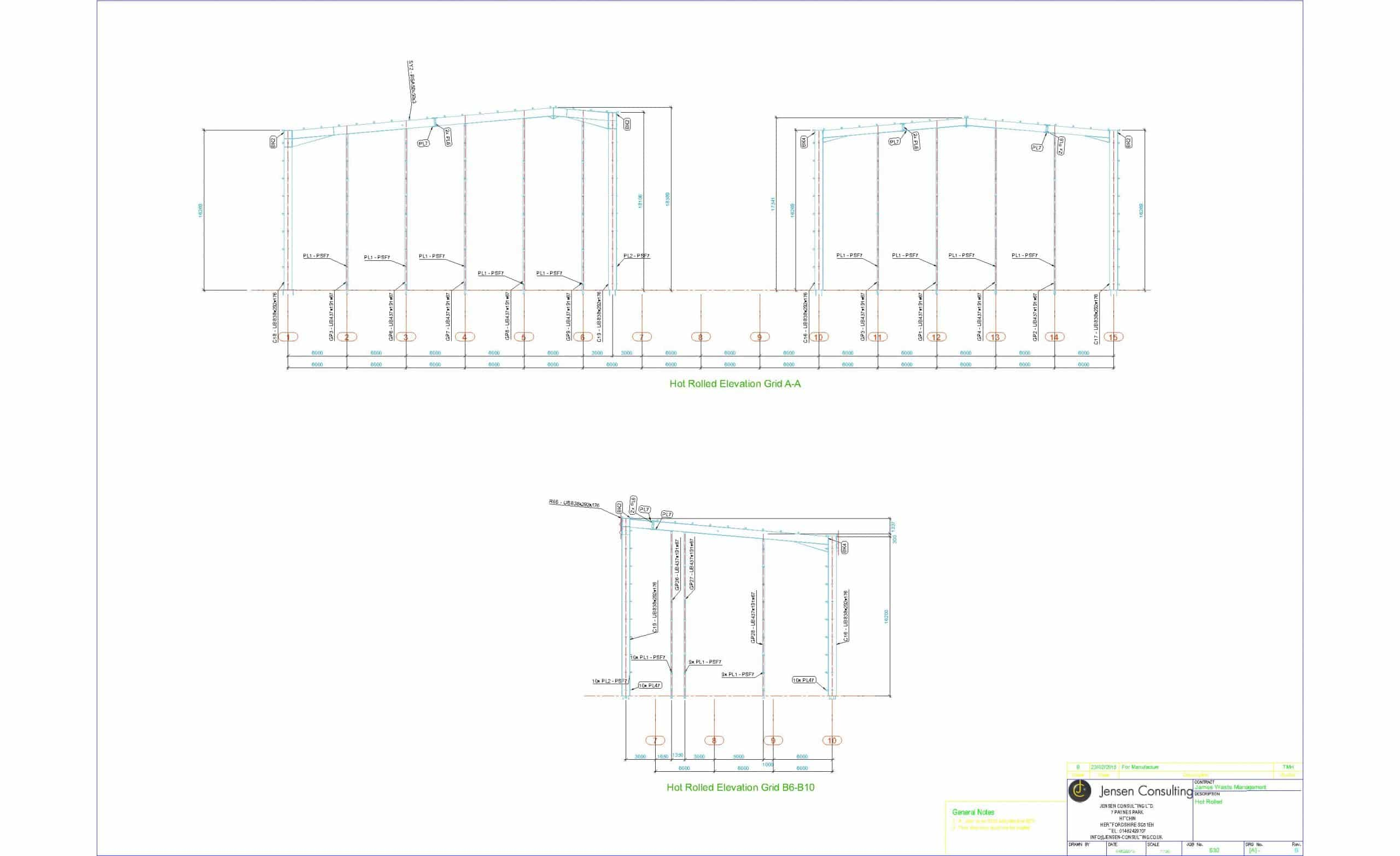 Portal Frame Elevation Drawing without cold rolled