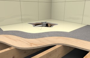 Section view render of a bathroom floor