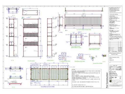 Balcony Stack – General Assembly Drawing – Elevation