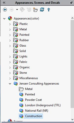 Creating custom appearances in SolidWorks