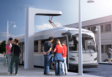 3D Rendering of a bus/train charging station