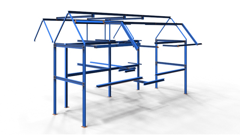 Full set of structural steel fabrication drawings for a